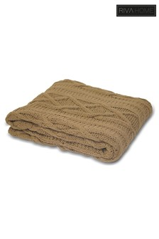 Aran Cable Knit Throw by Riva Home