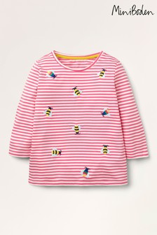 Boden Pink Embroidered Stripy T-Shirt