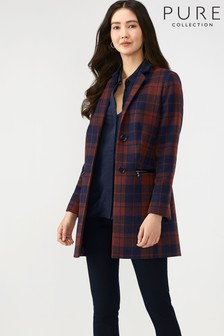 Pure Collection Blue Single Breasted Zip Detail Coat