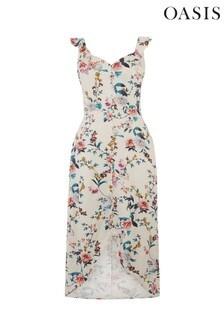 Oasis Natural Floral Print Midi Dress
