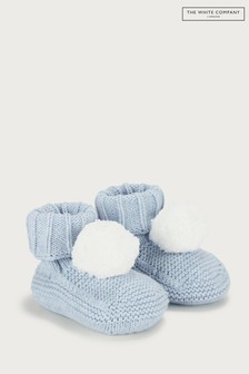 The White Company Blue Knitted Pom Pom Booties