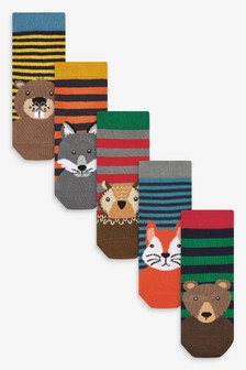 5 Pack Woodland Animal Bamboo Rich Socks