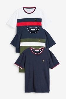 3er Pack T-Shirts mit Farbblockdesign, Regular Fit