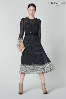 L.K.Bennett Black Avery Jasmin Boarder Print Pleated Skirt Dress