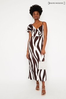 Warehouse Animal Print Stripe Frill Maxi Dress