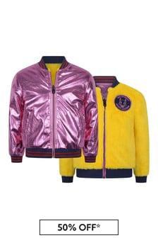 Girls Metallic Pink & Faux Fur Reversible Jacket