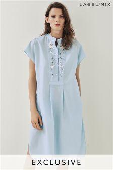 Mix/Anne Bernecker Cotton Embellished Shirt Dress