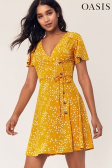 Oasis Mid Yellow Spot Tie Waist Dress