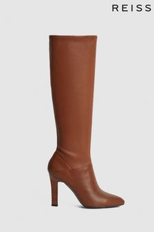 Reiss Camel Cressida Leather Knee High Boots