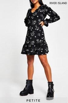 River Island Petite Black Frill Hem Floral Mini Dress