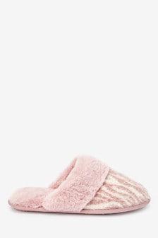 Zebra Knit Mule Slippers
