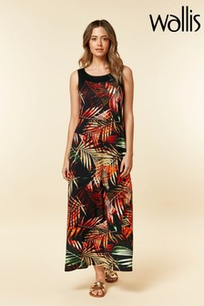 Wallis Petite Black Palm Maxi Dress
