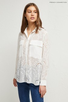 French Connection White Cornelia Lace Embroidered Shirt