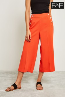 F&F Orange Button Culotte Trouser