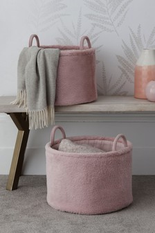 Set of 2 Faux Fur Storage Baskets