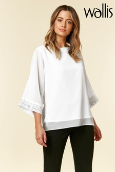 Wallis Petite Ivory Embellished Cuff Top