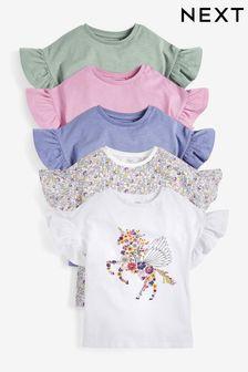 5 Pack Pretty Sequin Unicorn T-Shirts (3-16yrs)