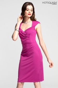 HotSquash Fuchsia Short Sleeved Dress With Crossover Top