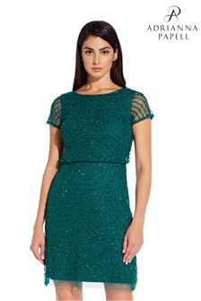 Adrianna Papell Green Bead Blouson Dress