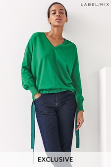 Mix/Laura Jackson Drawcord V-Neck Jumper