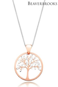 Beaverbrooks 9ct White Gold And Rose Gold Tree Pendant