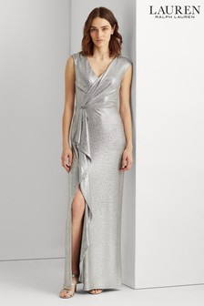 Lauren Ralph Lauren® Silver Metallic Stretch Ryder Evening Dress