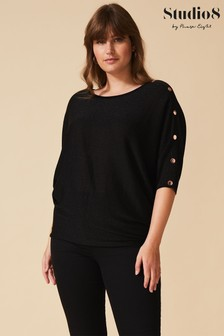 Studio 8 Black Ellis Stud Sparkle Knit Top