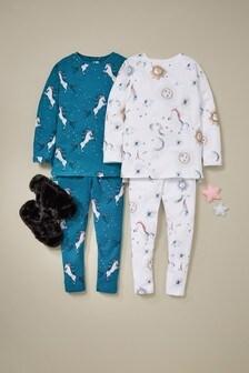 2 Pack Oversized Top Unicorn Legging Pyjamas (3-16yrs)