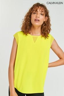 Calvin Klein Yellow Chiffon Sleeveless Blouse