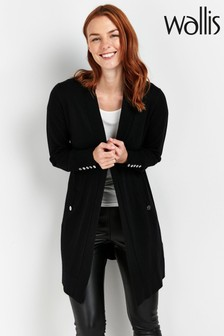 Wallis Black Wool Mix Longline Cardigan