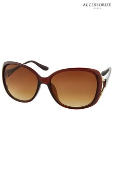 Accessorize Tan Rachel Metal Detail Wrap Sunglasses