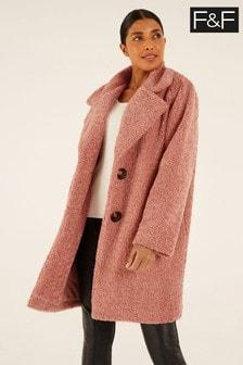 F&F Pink Chenille Teddy Coat