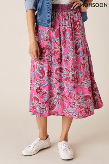 Monsoon Pink Paisley Print Skirt In Lenzing™ EcoVero™