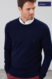 Joules Blue Jarvis Cotton Crew Neck Jumper