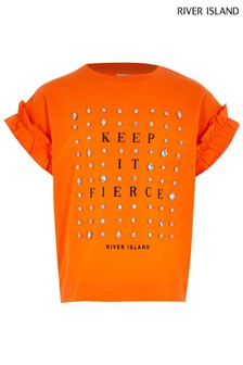 River Island Orange Fierce Embroidered Frill T-Shirt