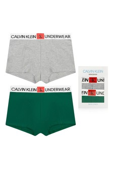 Boys Green/Grey Cotton Boxer Shorts Two Pack