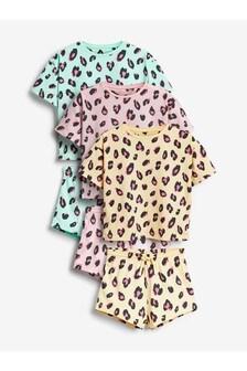 3 Pack Leopard Print Short Pyjamas (3-16yrs)
