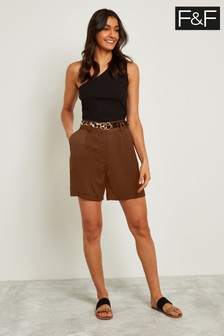 F&F Chocolate Leopard Belted Short