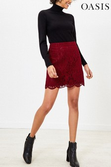 Oasis Red Lace Mini Skirt