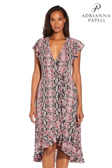 Adrianna Papell Red Snakeskin Print Wrap Dress