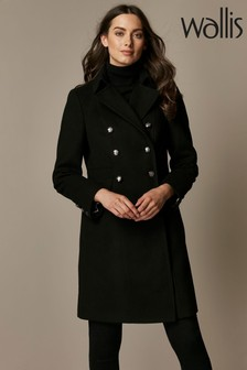 Wallis Black Faux Wool Military Coat