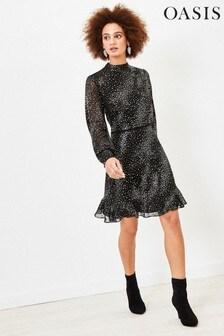 Oasis Black Glitter Star Tiered Skater Dress