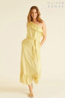 Oliver Bonas Geo Print One Shoulder Maxi Dress