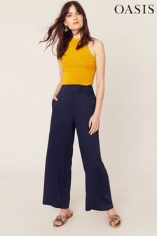 Oasis Navy Wide Leg Trousers