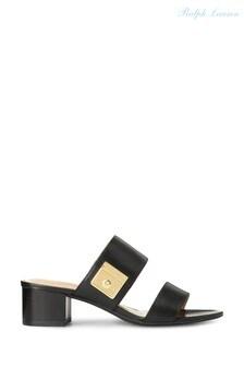 Ralph Lauren Black Leather Windham Mules