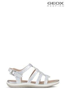 Geox Womens Vega Silver Sandals