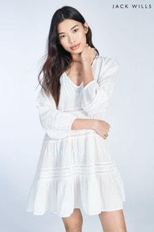 Biała, bawełniana sukienka o trapezowym kroju Jack Wills Marygate