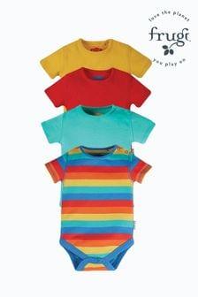 Frugi Organic Cotton Rainbow Short Sleeve Bodysuits 4 Pack