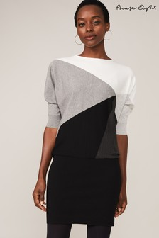 Phase Eight Black Alia Colourblock Knit Dress