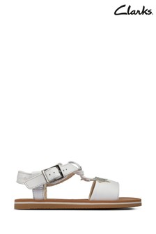 Clarks White Leather Finch Summer T Sandals